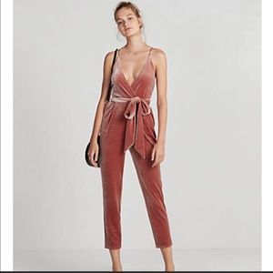 Express peach colored velvet jumpsuit